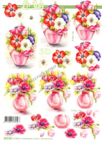 Anemone & Spring Flowers In Pink Vase 3d Decoupage Sheet